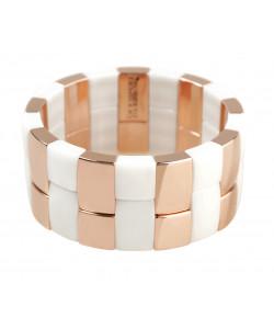 Bracciale aura 2 file alternato ceramica dorata rosa e bianca satinata