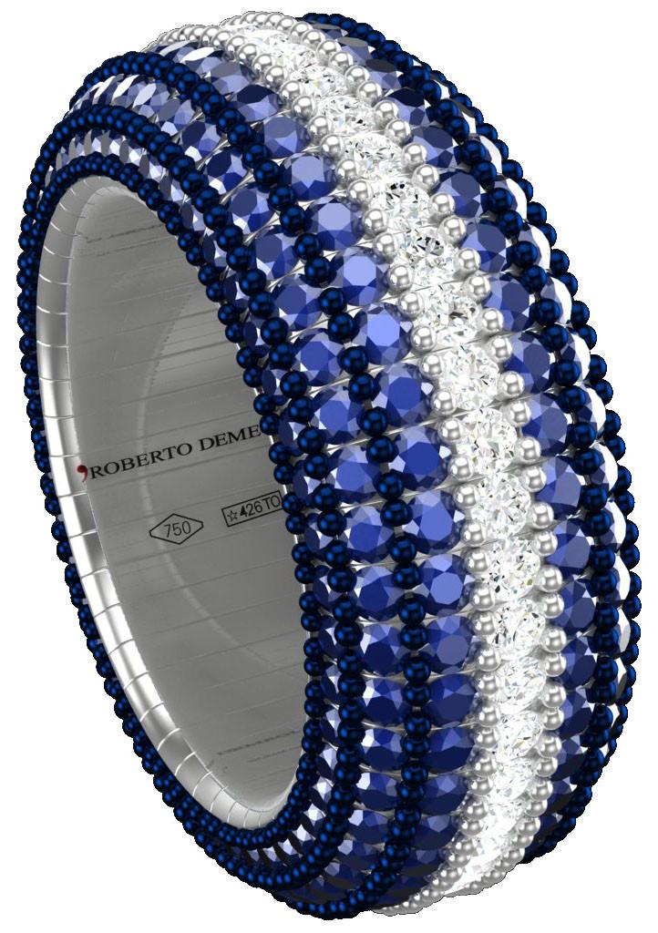 premium selection 7da47 3d102 Anello giotto 4 in oro bianco con zaffiri blu e striscia ...